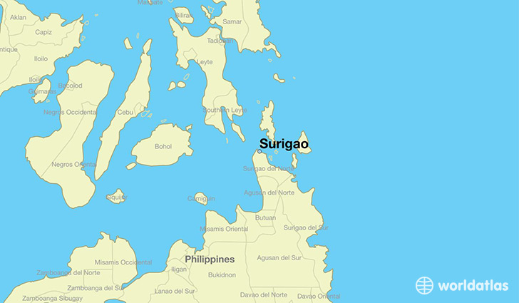 map showing the location of Surigao