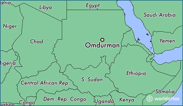 map showing the location of Omdurman