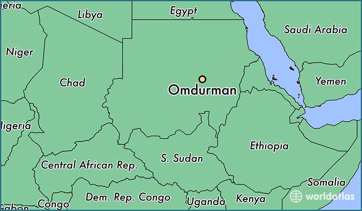 Where is Omdurman The Sudan Omdurman Khartoum Map WorldAtlascom