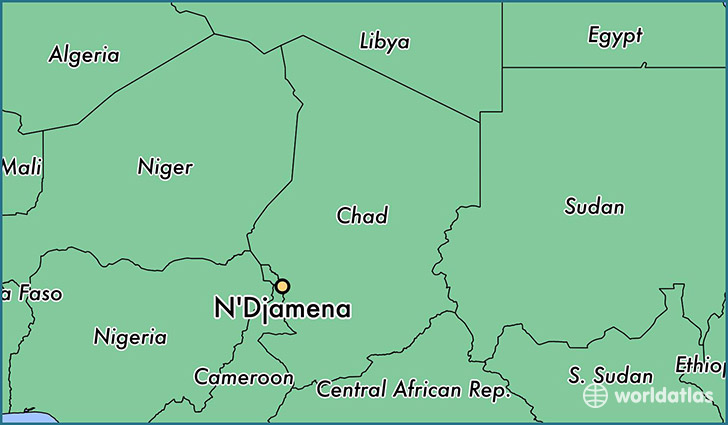 map showing the location of N'Djamena