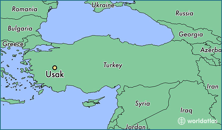 map showing the location of Usak
