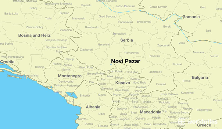 map showing the location of Novi Pazar