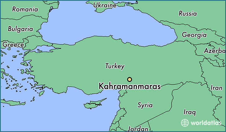 map showing the location of Kahramanmaras