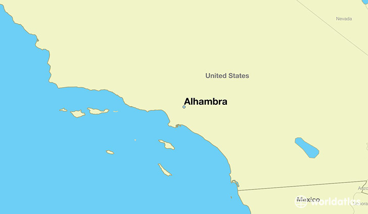map showing the location of Alhambra