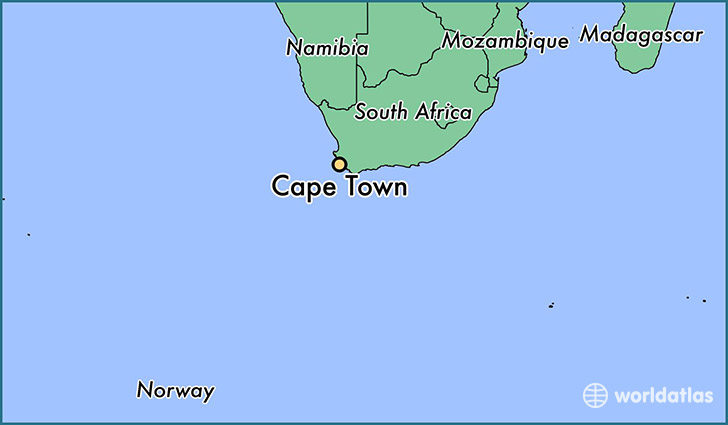 map showing the location of Cape Town