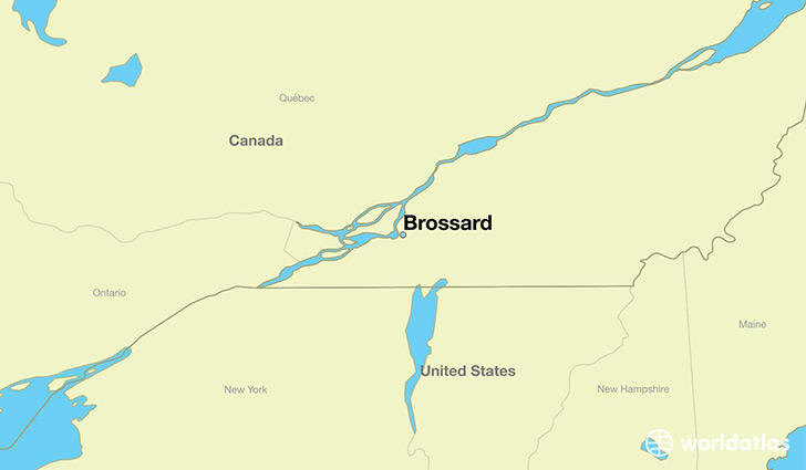 map showing the location of Brossard