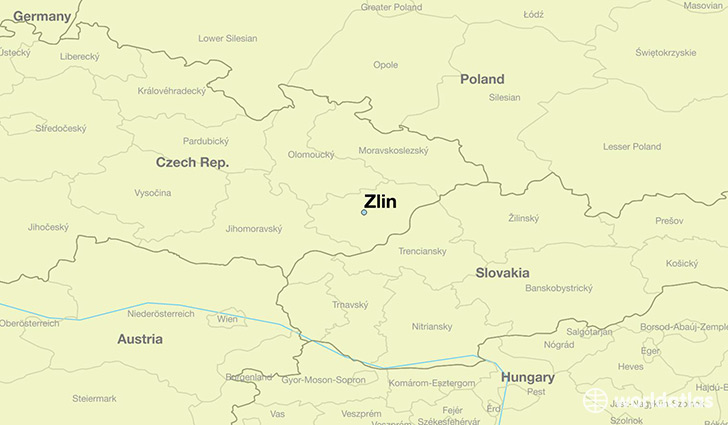 map showing the location of Zlin
