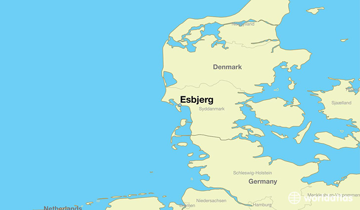 map showing the location of Esbjerg