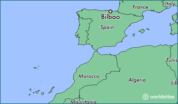 map showing the location of Bilbao