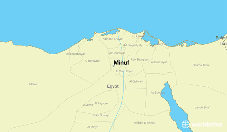 map showing the location of Minuf