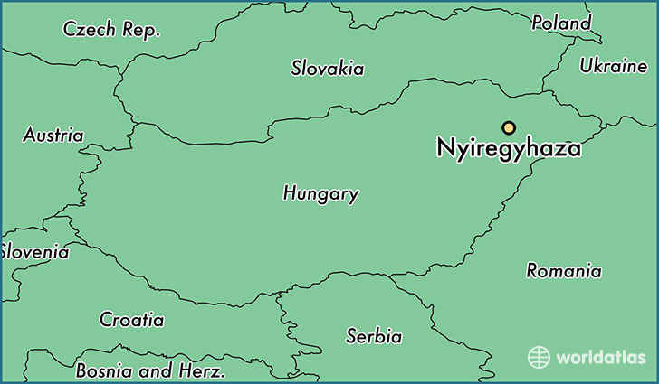 map showing the location of Nyiregyhaza