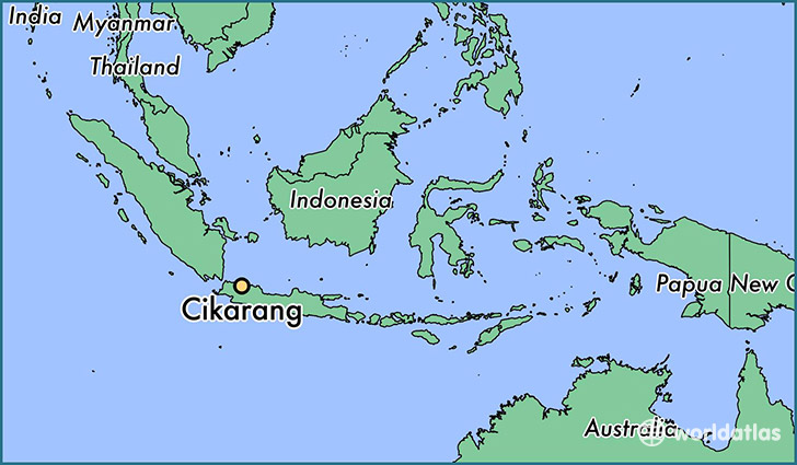 map showing the location of Cikarang