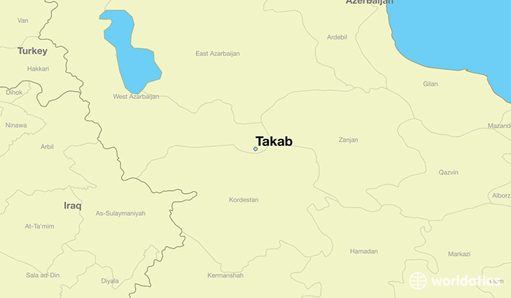 map showing the location of Takab