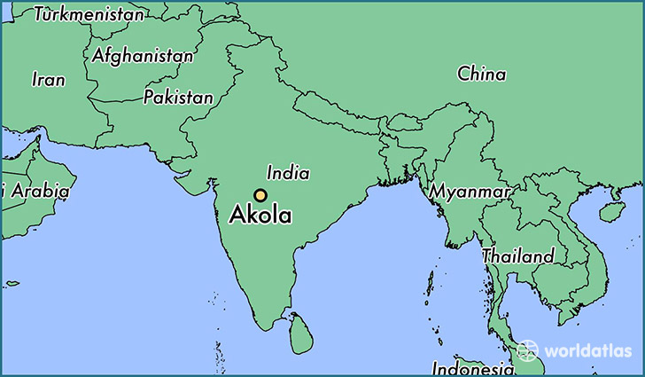 map showing the location of Akola