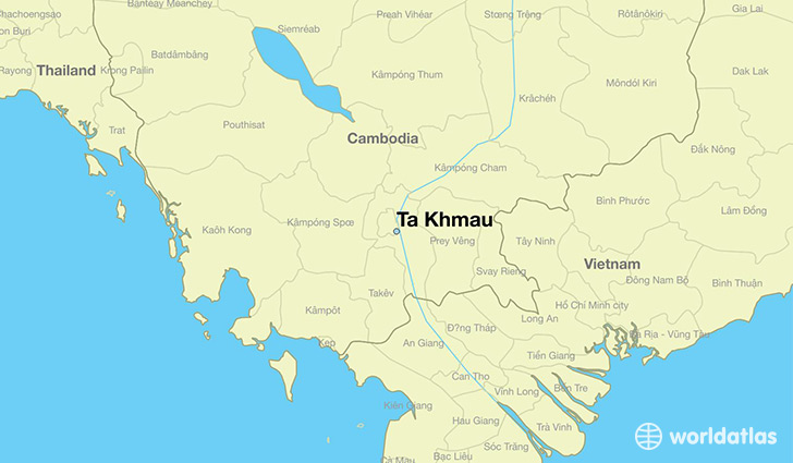 map showing the location of Ta Khmau