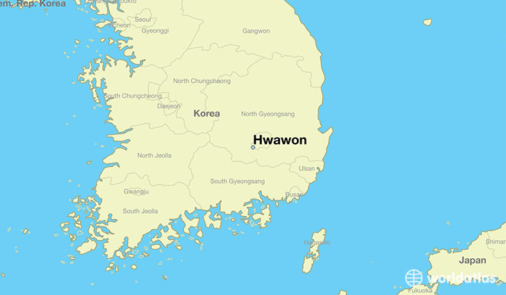 map showing the location of Hwawon