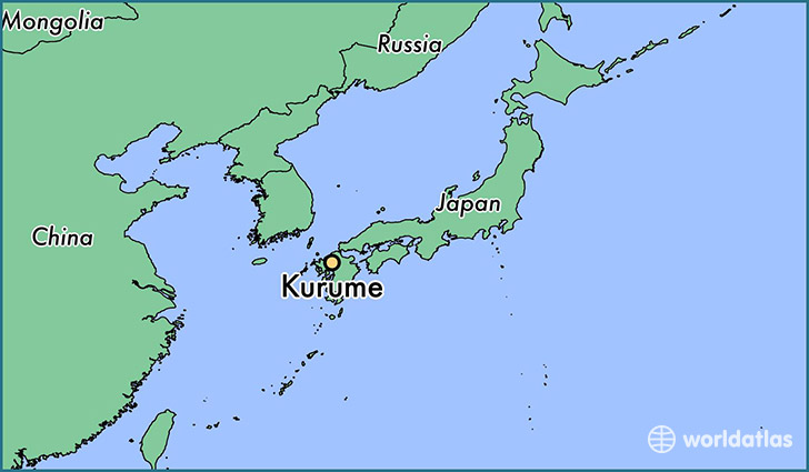 map showing the location of Kurume