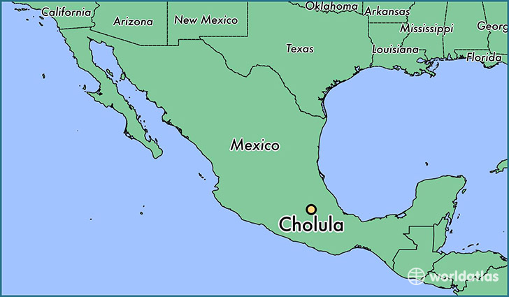 map showing the location of Cholula