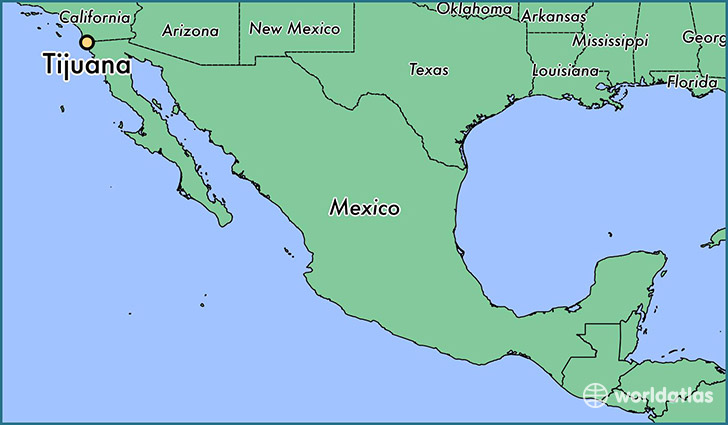 map showing the location of Tijuana