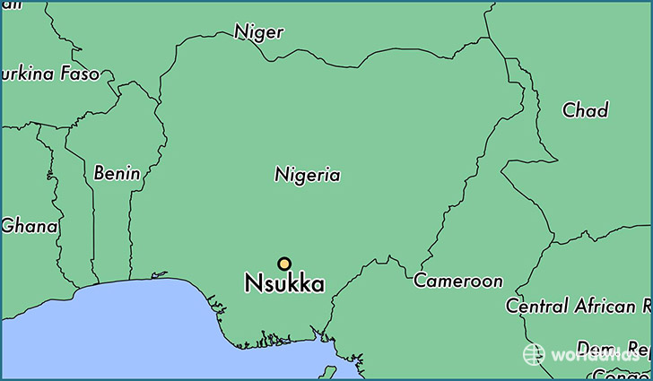 map showing the location of Nsukka