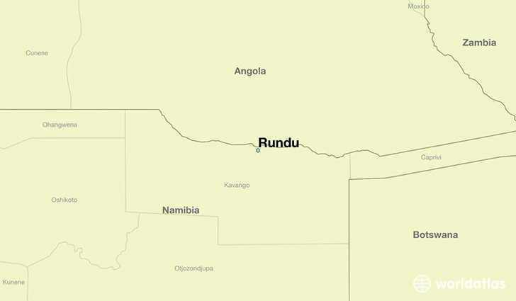 map showing the location of Rundu