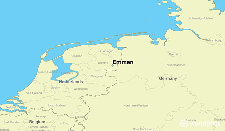 map showing the location of Emmen