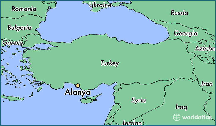 map showing the location of Alanya