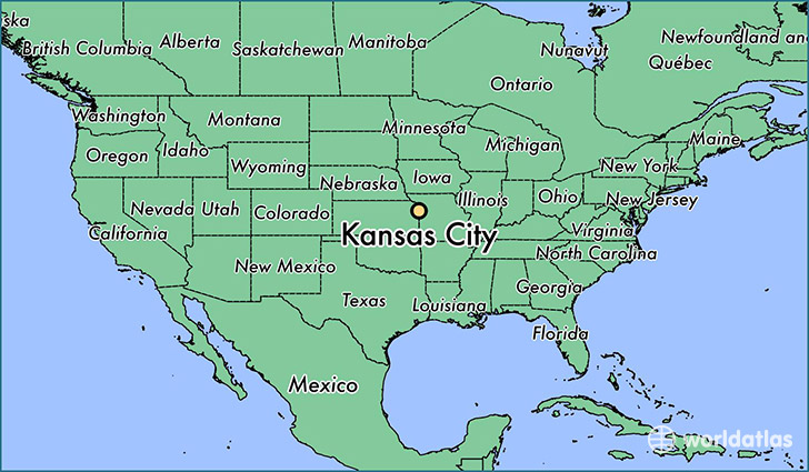 map showing the location of Kansas City