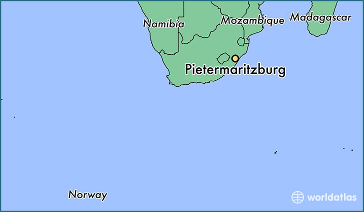 map showing the location of Pietermaritzburg