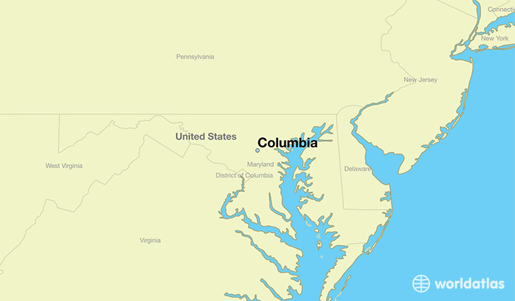 map showing the location of Columbia