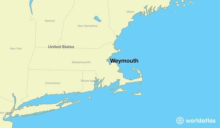 map showing the location of Weymouth