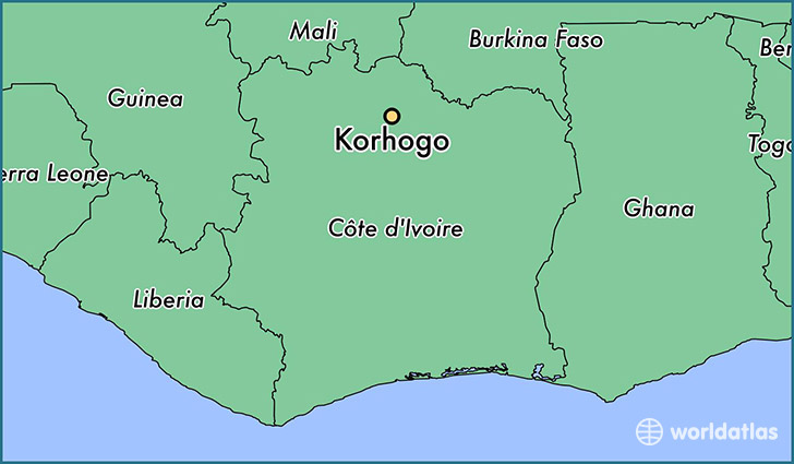 map showing the location of Korhogo
