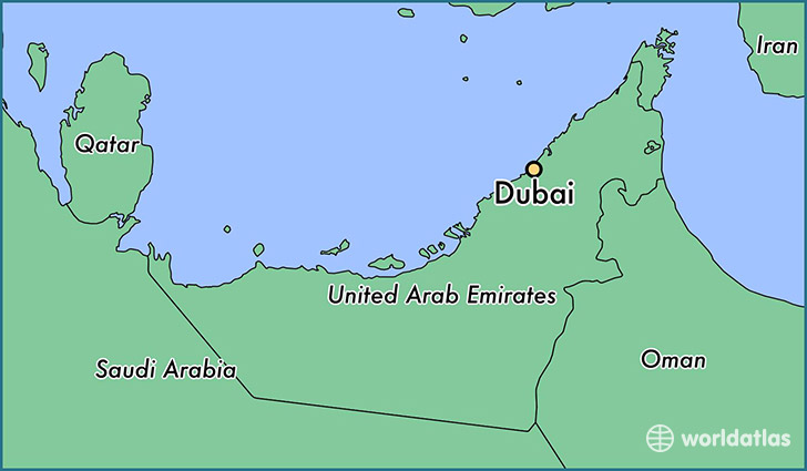 map showing the location of dubai