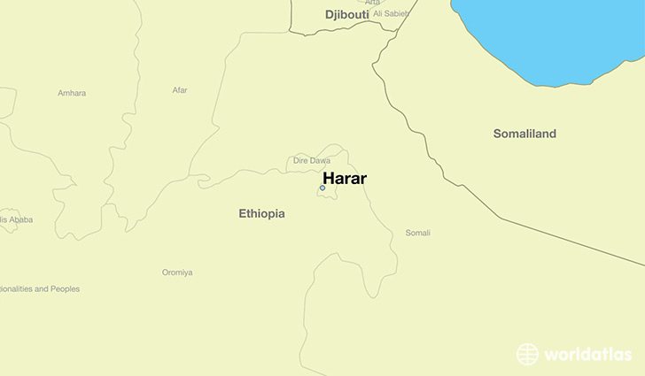 map showing the location of Harar