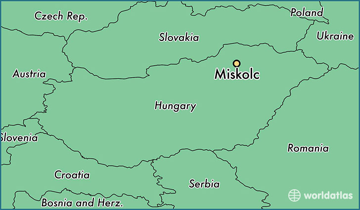 map showing the location of Miskolc