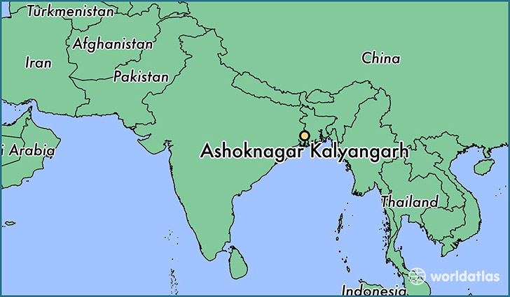 map showing the location of Ashoknagar Kalyangarh