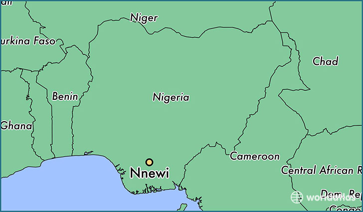 map showing the location of Nnewi