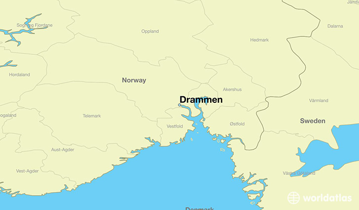 map showing the location of Drammen
