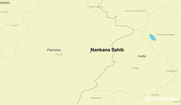 map showing the location of Nankana Sahib