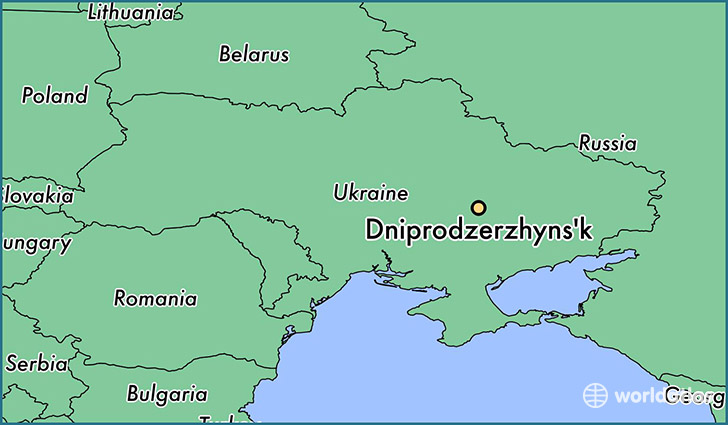 map showing the location of Dniprodzerzhyns'k