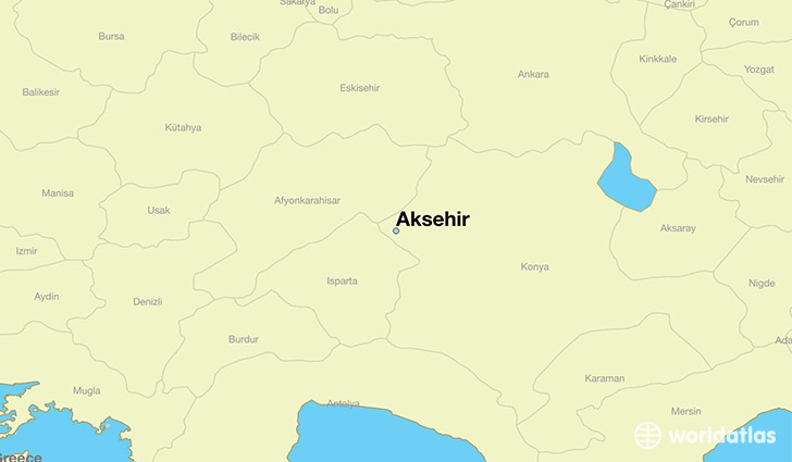 map showing the location of Aksehir