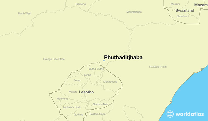 map showing the location of Phuthaditjhaba
