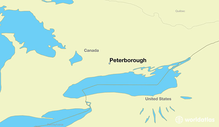map showing the location of Peterborough
