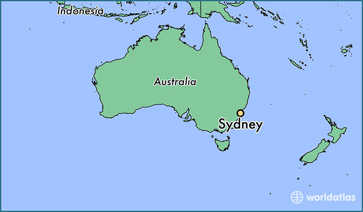 map showing the location of sydney