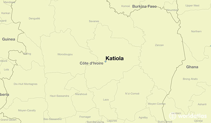 map showing the location of Katiola