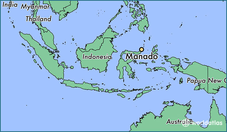 map showing the location of Manado