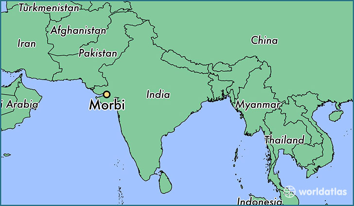 map showing the location of Morbi