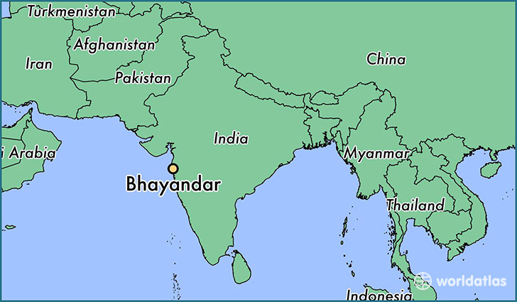 map showing the location of Bhayandar