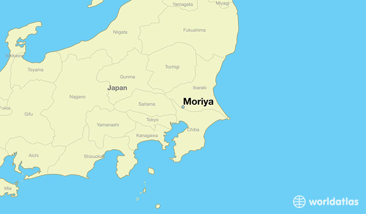 map showing the location of Moriya