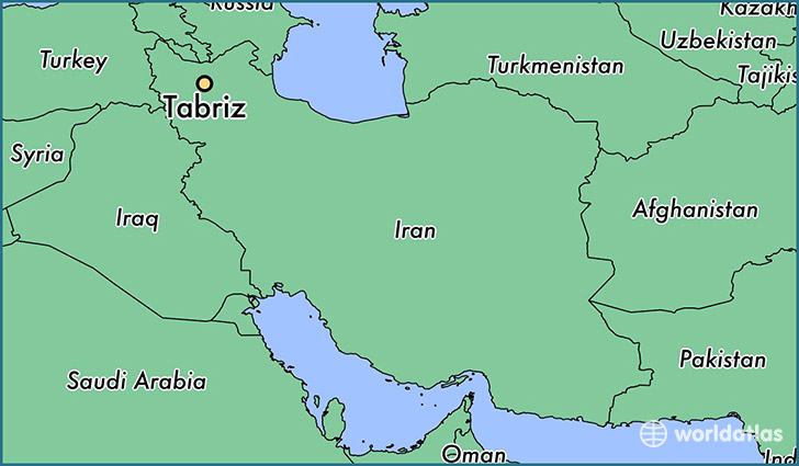 map showing the location of Tabriz